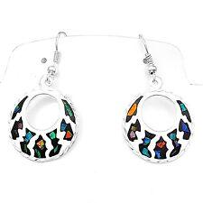 Artisan Fire Opal Geometric Circular Earrings from Taxco Mexico