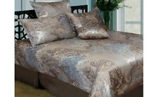 New ROYALE Duck Egg Blue Mustard Coffee Jaquard QUEEN Size Quilt Doona Cover Set