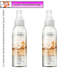 2 x Avon Naturals Scented Spritz Vanilla & Sandalwood Room Body Spray Mist 100ml