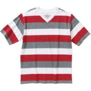 Faded Glory Boys Short Sleeve Rugby V Neck T Shirt Classic Red Size X-SMALL 4-5