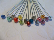 Glass Ball End Headpins - Silver 2 inch - 21 / 22 gauge - Asst Colors Qty 17