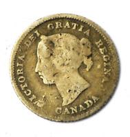 1882 H Canada 5c Five Cents Silver Coin Half Dime KM# 2