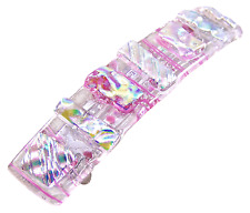 """Dichroic Hair Barrette 3.5"""" 9cm Opal Pink Yellow Fused Glass Textured Shards"""