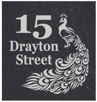 Personalised Peacock door plaque, sign, welsh slate, engraved,