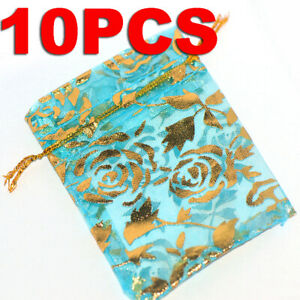 10Pcs Sheer Organza Wedding Party Favor Gift Candy Bags Jewelry Pouches 7x9cm