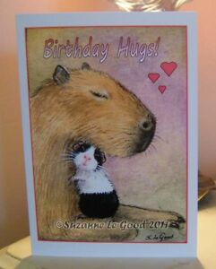 Guinea Pig and Capybara art birthday card original painting by Suzanne Le Good.