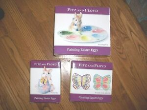 Lot 3 FITZ & FLOYD PAINTING EASTER EGGS Egg TrayPlatter-ButterflyBunnyCandy Dish