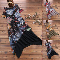 ZANZEA 8-24 Women Summer Short Sleeve Vintage Printed Midi Kaftan Floral Dress
