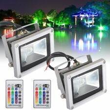 2X10W RGB LED Floodlight Color Spot light Outdoor Lamp+Remote IP65 Waterproof