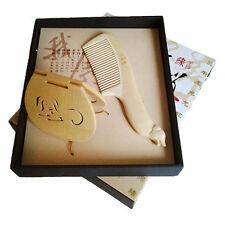 Peigne et miroir de poche en bois, signe zodiaque chinois chien
