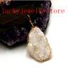 Wrapped White Titanium Crystal Agate Druzy Quartz Geode Pendant Bead DW43