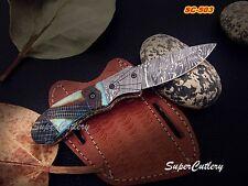 Custom made Damascus Folding Knife with Bone handle pocket Damascus knife