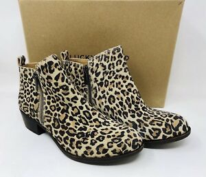 Lucky Brand Women's Basel Ankle Booties - Natural Leopard Suede