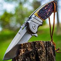"8.5"" ELK RIDGE Bone Gentleman SPRING ASSISTED OPEN Hunting Folding POCKET KNIFE"