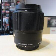 Used Sigma 30mm f1.4 DC DN Black Lens in MFT Fit - 1 YEAR GTEE