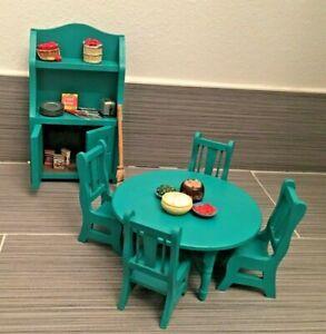 Dollhouse Furniture lot 1:12 Kitchen Table Hutch w/ Food handmade Green Teal