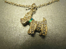 New Silver Plated Scotty Dog Necklace Green Collar NWT MRSP $45