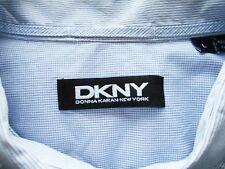 DKNY colore Blu Pallido A Righe Con Motivo A plaid griglia Camicia in cotone taglia L