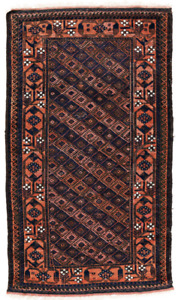 Antique Tribal Carpet Baluch Balouch Rug Natural Vegetable Dyed Colors Geometric