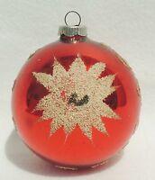 Jumbo Vtg Shiny Brite Germany MICA Star Red Lg Mercury Glass Xmas Ornament #1356