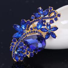 Donne Lady nuziale di cristallo blu strass Spilla Bouquet Broach