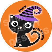 HALLOWEEN PARTY Edible Cake Topper Frosting Sheet Image Round CUSTOMIZABLE!