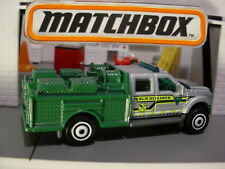 FORD F-550 SUPER DUTY truck☆silver/green; LAND SURVEY TEAM☆2017 MATCHBOX loose