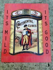 "TIN SIGN ""Continental Tobacco"" Nicotene Signs  Rustic Wall Decor"