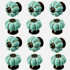 12pcs/Lot Turquoise Ceramic Cabinet Knobs Cupboard Drawer Door Pull handle 40mm