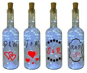 Personalised Initial LED Light up Bottle Wedding Engagement Anniversary Gift