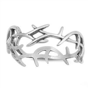 925 Sterling Silver Thorn Twig Band Ring J L N P R T