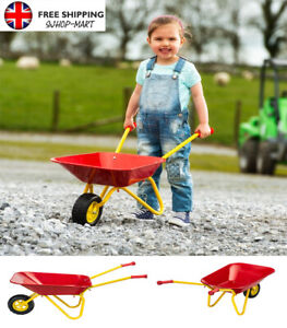 Kids Metal Toy Wheelbarrow Red Children Play Garden Outdoor Fun Gardening