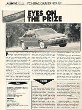 1993 1994 Pontiac Grand Prix GT Original Car Review Print Article J611