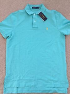 **BRAND NEW** Men POLO Ralph Lauren Classic Fit Polo Shirt Turquoise Blue Sz Med