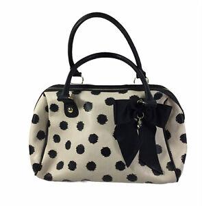 Betsey Johnson Double Handle Purse White Black Polka Dot  Bow Handbag Satchel