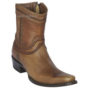 "Men's Los Altos Genuine Rage Leather Ankle Boots Square Toe Side Zipper 6"" Shaft"