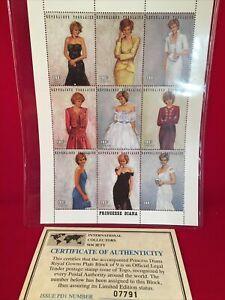 Princess Diana Republique Togolaise stamps plate block sheet of nine With COA