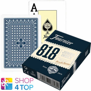 FOURNIER 818 POKER PLASTIC COATED PLAYING CARDS DECK BLUE JUMBO INDEX NEW