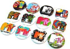 "12 MTV Music TV Buttons Pinbacks 1"" Pins Badges Retro 80s- 90's Logo I Want My"