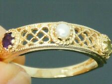9ct Gold Suffragette Amethyst, Peridot, Pearl Hallmarked Eternity Ring size P