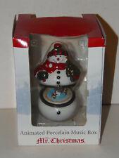 "Mr Christmas Animated Porcelain Music Box 2005 Snowman Plays ""Joy to the World�"