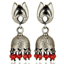 Red Coral 925 Sterling Silver Jhumka Stud Earrings Wedding Jewelry