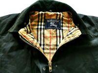 HOT ENGLAND Men's BURBERRYS @ WAXED Cotton NOVA CHECK LINED BLACK COAT JACKET XL