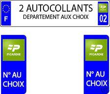 LOT 2 STICKERS AUTOCOLLANT PLAQUE IMMATRICULATION PICARDIE DEPAR AUX CHOIX