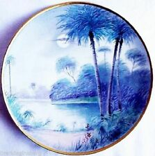 Antique Pickard American HP Artist Signed Plate w Moon Palm Trees  (2048)