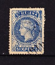 St HELENA 1873 Victoria 6p. Bleu  14mm x 12,5mm