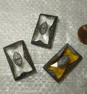 3   Vintage Czech Art DECO   figural   ART Glass   Jewelry pieces  CABOCHONS