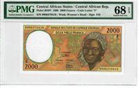Central African States 2000 Francs 1999 Pick# 303Ef PMG Superb UNC 68 EPQ