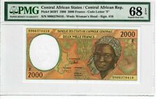 Central African States 2000 Francs 1999 Pick# 303Ef PMG Superb UNC 68 EPQ