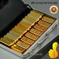 "10PCS 1/6 Solid Gold Bricks Models Magnet DIY Scenery Tool for 12"" Action Figure"